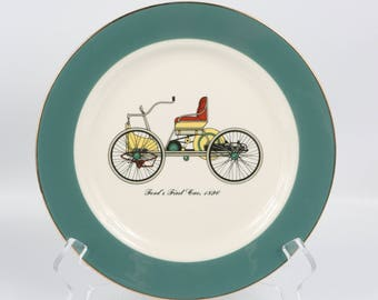 """1960's Century Service Corporation Alliance Ohio, """"Ford's First Car"""" Plate, Emerald Border, Excellent Cond., 8-1/4"""" Diameter."""