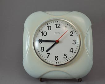 Old German ceramic wall clock kitchen clock Germany, Quarz, mid century
