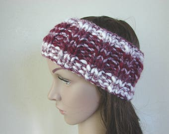 Ear warmer dark red white adult warm comfortable winter chunky head band knit in round head band woman chunky ear warmer burgundy ear warmer