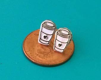 Coffee cup earrings