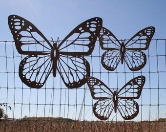 Rustic Monarch Butterfly Wall Art, Set of 3 butterflies, Mixed size, rustic butterfly, monarch wall art, butterfly decor, butterfly garden