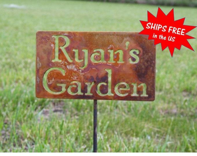 Featured listing image: Custom Garden Stake, garden marker, Gardener Gift, Mom's Garden, Dad's Garden, My garden sign, garden stake, memorial sign, pet memorial