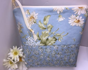 DAISES LARGE Wet Bag, Cosmetics Case, Waterproof Bag, Tall Zipper Pouch, Large Project Bag,