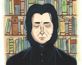 Severus Snape, Unbreakable Vow, fine art print, watercolor, gouache, Harry Potter, 5x7