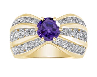 2 Ct Amethyst & Diamond Belcher Style Engagement Promise Wedding Ring In 14K Solid Yellow Gold