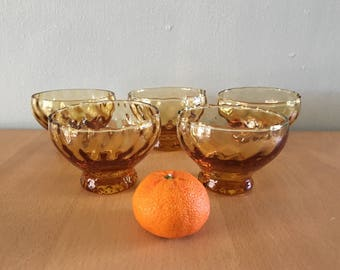 Lovely vintage set of 5 amber thumbprint juice glasses / sherbet cups Indiana Glass or Whitehall style for a tropical Old Florida home!