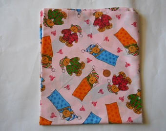 One Yard of Fabric with Darling Sleepy Bears  with a pink background