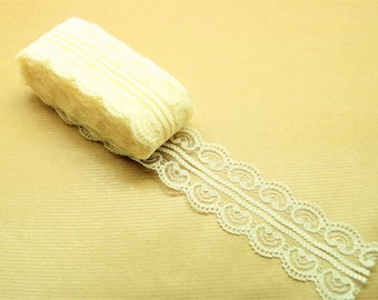 Coupon of 9 meters of ivory beige polyester lace tape, width 45 mm