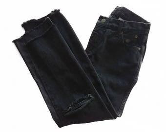 Vintage Harley Davidson High Waisted Cut Fray & Crop Ankle Black Denim Jeans