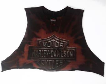 Harley Davidson Salvaged Tie Dye Tank Crop Top