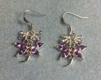 Violet rhinestone dragonfly charm earrings adorned with tiny dangling violet and silver Chinese crystal beads.