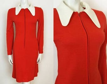 True Vintage 60s MOD Scooter Dress GOGO Red White Oversized Beagle Collar - Size 6 8 10