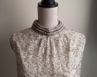 Vintage Lace and Beaded dress by Voguemont with beaded/pearl collar.