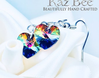 Crystal Heart Silver Earrings Made With Swarovski Elements.