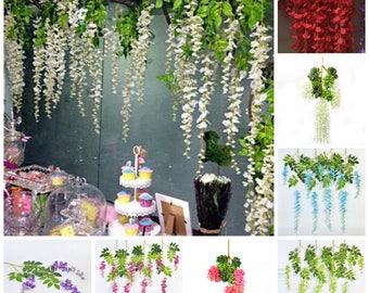 12 Wisteria Hanging Flower Garland For Wedding Backdrops, Birthday Party Decors, Picture Prop Backdrops, 110cm