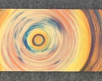 "Spiral, 10"" x 22"", Copper Fire Painting"