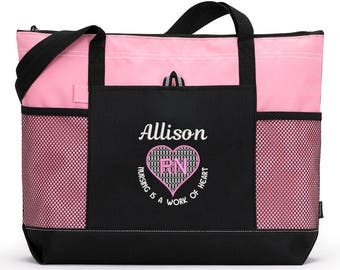 Nursing is a Work of Heart Rn, Lpn, Nurse, Cna Personalized Zippered Tote Bag With Mesh Pockets, Beach Bag, Boating