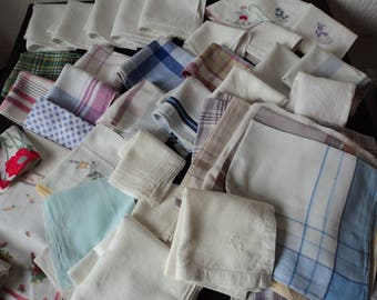 French vintage job lot of 45 assorted handkerchiefs for repair or crafts (05986)