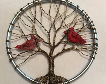 "3"" Tree of Life Sun Catcher with Cardinals"