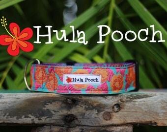 "Dog Collar ""Pakalana"" Pink Turquoise  -  Medium, Large, Wide, Adjustable // FREE SHIPPING"