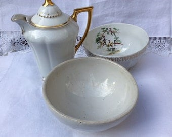 2 French Vintage Cafe au Lait Bowls, one Longchamp.