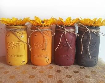 Fall Mason Jars, Distressed Mason Jars, Rustic Mason Jars, Mason Jar Vases, Fall Decor, Rustic Decor, Farmhouse Decor, Mason Jars