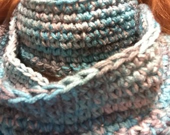 Homemade turquoise/gray/silver Infinity scarf