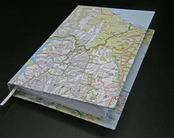 Travel journal with map on cover - also great for smash book or scrapbook