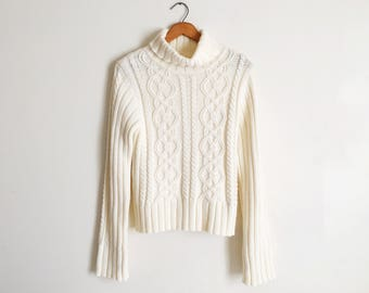Vintage 90s Ivory Cream Chunky Cable Knit Turtleneck Sweater Oversized Fisherman Sweater Preppy Minimal Jumper Small Medium Long Sleeves