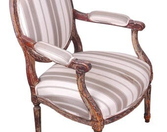 Antique French Armchair Louis XVI Style Striped Armchair Gustavian Style  Distressed Armchair French Nordic Style Shabby