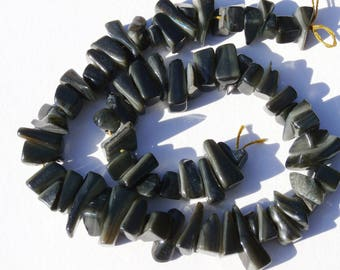 chips of mother-of-Pearl strand 35cm, beads grey tone