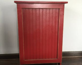 Primitive Wood Laundry Hamper, Or Blanket Storage Cabinet