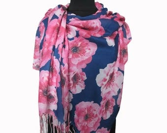 Blue Pink Scarf, Floral Pashmina Scarf, Blue Boho Shawl, Floral Fashion Shawl, Mothers Day Gift, Floral Shawl, Light Scarf, Gifts for Women