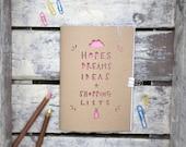 Spaß A5 Papercut Notizbuch, Hoffnungen Träume und Ideen Skizzenbuch, Zeitschrift, leere weiße Seiten, stationäre Süchtigen, Doodle-Pad, Notebook-Geschenk