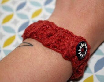 Bracelet crocheted cotton cable