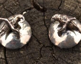 Susan Cummings parrot earrings, sterling silver clip on dimensional wild animal species earrings.  Rare.