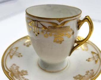 Vintage Porcelain White and Gold Asian Demitasse Cup and Saucer