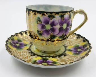 Purple Pansy and Yellow Demitasse Cup and Saucer