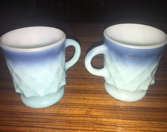 Set of Anchor Hocking Fire King Kimberly blue hombre coffee mugs