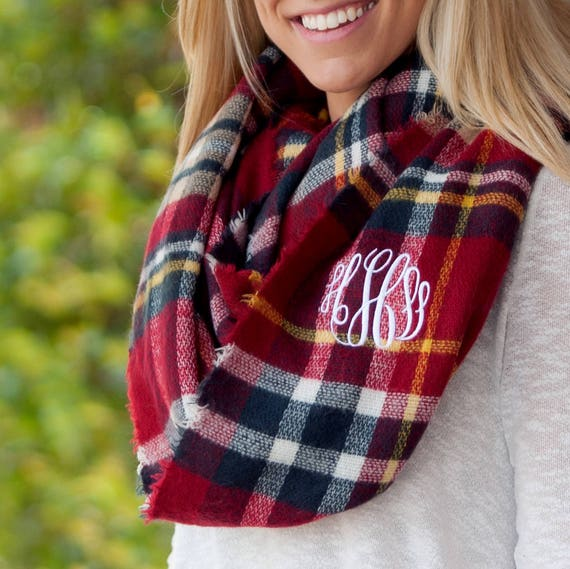 Monogrammed Infinity Scarf - Red Plaid