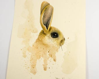 Bunny Original Watercolor Painting by Yana Khachikyan