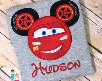 Cars Lightning McQueen Mouse Head Inspired Shirt, Disney Vacation, Personalized Cars McQueen Mousehead Shirt, Lightning McQueen Cars Shirt