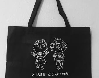 Hand Printed Animal Crossing Tote Bag