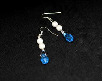 Blue and Pearl drop earrings