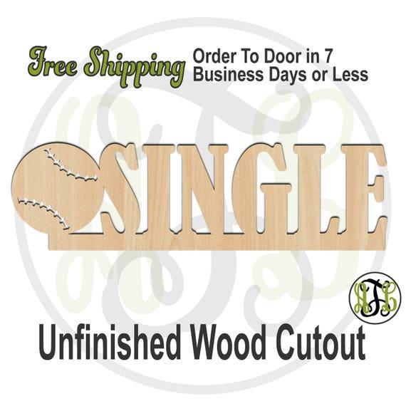 Baseball Single- 325058- Sports Cutout, unfinished, wood cutout, wood craft, laser cut, wood cut out, Door Hanger, School Spirit, wooden