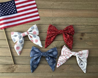 4th of July, Liberty Collection \\ The Phoebe Bow // Red White and Blue Bows, Fourth of July Bow, Hairbow, Sailor Bow, Summer Bows