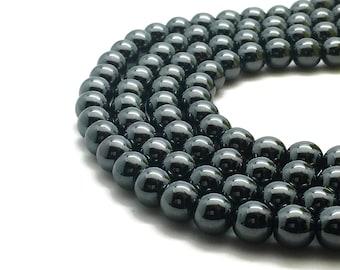 6mm Black Hematite Beads 61 Beads 6mm hematite 6mm beads hematite black beads hematite 6 mm