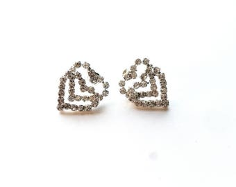 Vintage Silver Double Hearts with Crystal Rhinestones, Pierced Earrings