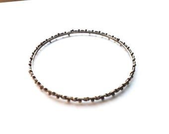 Vintage Antiqued Silver with Bead Design Bangle Bracelet