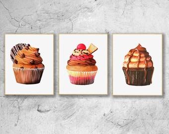 Food Illustration Set of 3, Cupcake Watercolor Art Prints, Realistic Cupcake Art, Cupcake Wall Art, Kitchen Wall Art,Cupcake Food Art